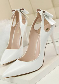 White Point Toe Stiletto Cut Out Bow Fashion High-Heeled Shoes