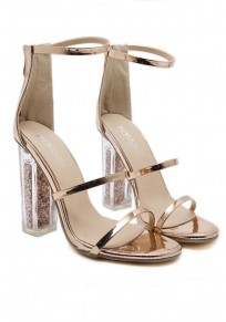 Golden Round Toe Chunky Zipper Casual High-Heeled Sandals