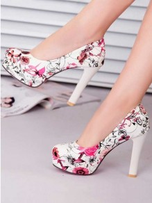 Red Round Toe Chunky Floral Print Fashion High-Heeled Shoes