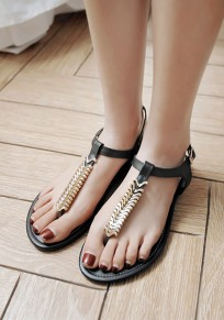 Black Round Toe Flat Metal Decoration Fashion Sandals