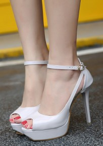 Apricot Piscine Mouth Stiletto Buckle Casual High-Heeled Sandals