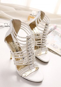 White Round Toe Stiletto Zipper Roman Fashion High-Heeled Sandals