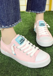 Pink Round Toe Flat Letter Print Cute Canvas Shoes