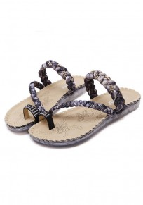 Black Round Toe Flat Rhinestone Ribbon Weaving Bohemian Casual Slippers