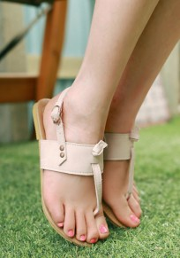 Beige Round Toe Flat Buckle Casual Ankle Sandals