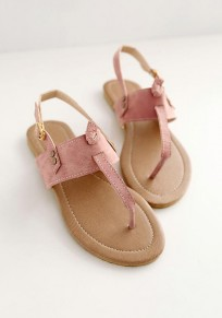 Pink Round Toe Flat Buckle Casual Ankle Sandals