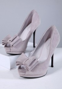 Grey Piscine Mouth Stiletto Bow Fashion High-Heeled Shoes