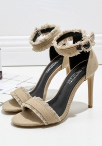 Apricot Round Toe Buckle Fashion High-Heeled Sandals