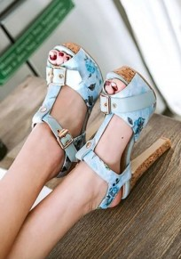 Blue Round Toe Chunky Floral Print Piscine Mouth Casual High-Heeled Sandals