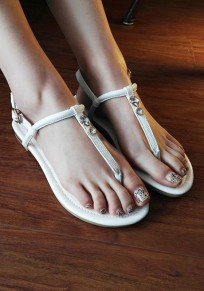 White Round Toe Flat Rhinestone Buckle Fashion Sandals