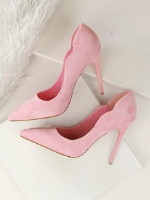 Pink Point Toe Falbala Stiletto Suede Sweet High-Heeled Dress Pump Shoes