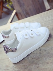 Golden Round Toe Flat Sequin Velcro Casual Shoes