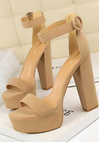 Khaki Round Toe Chunky Buckle Fashion High-Heeled Sandals