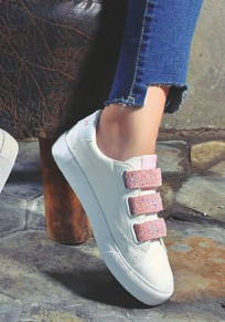 Pink Round Toe Flat Velcro Casual Shoes