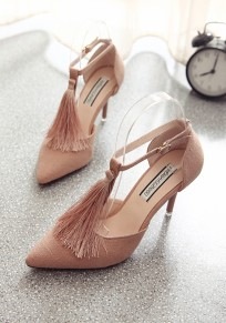 Pink Point Toe Stiletto Tassel Fashion High-Heeled Shoes