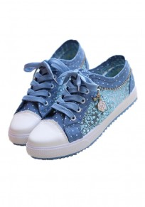 Light Blue Grenadine Patchwork Lace-up Casual Shoes