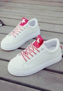 Red Round Toe Flat Star Print Lace-up Casual Shoes