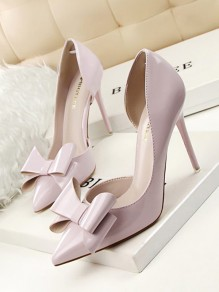 Light Grey Point Toe Stiletto Bow Fashion High-Heeled Shoes