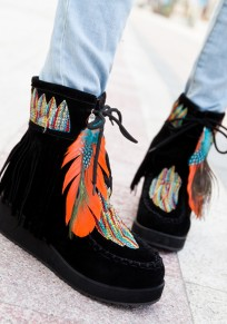 Black Round Toe Wedges Feather Embroidery Fashion Ankle Boots