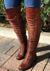 Brown Round Toe Chunky Zipper Fashion Over-The-Knee Boots