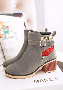 Grey Round Toe Chunky Embroidery Fashion Ankle Boots