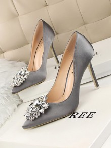 Grey Point Toe Stiletto Rhinestone Fashion High-Heeled Shoes