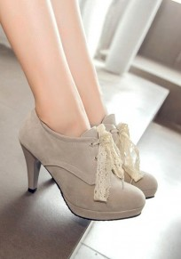 Grey Round Toe Stiletto Lace Casual High-Heeled Shoes