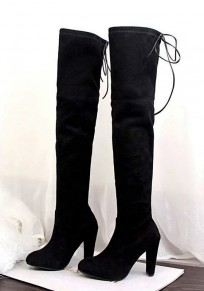 Black Round Toe Chunky Lace-up Casual Over-The-Knee Boots