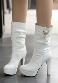 White Round Toe Chunky Rhinestone Casual Mid-Calf Boots