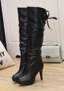 Black Round Toe Stiletto Lace-up Casual Over-The-Knee Boots