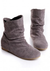 Grey Round Toe Flat Faux Fur Patchwork Casual Ankle Boots