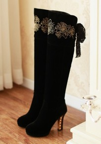 Black Round Toe Chunky Embroidery Casual Over-The-Knee Boots