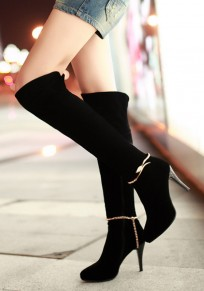 Black Round Toe Stiletto Metal Decoration Rhinestone Casual Over-The-Knee Boots