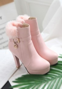 Pink Round Toe Chunky Faux Fur Fashion Boots