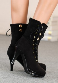 Black Round Toe Stiletto Zipper Casual Ankle Boots