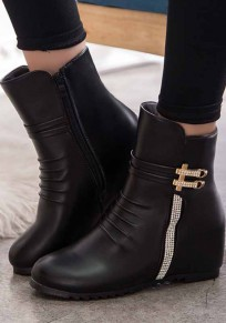 Black Round Toe Within The Higher Rhinestone Casual Boots