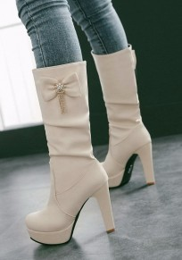 Beige Round Toe Chunky Bow Casual Mid-Calf Boots