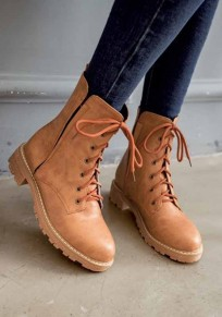 Yellow Round Toe Chunky Lace-up Casual Boots