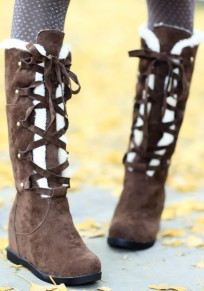 Brown Round Toe Flat Lace-up Casual Mid-Calf Boots
