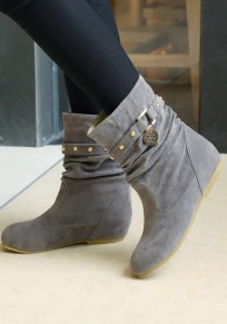 Grey Round Toe Within The Higher Rivet Casual Boots