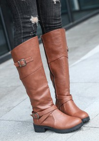 Brown Round Toe Chunky Buckle Knee-High Casual Boots