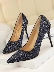 Blue Point Toe Stiletto Sequin Fashion High-Heeled Evening Party Pumps Shoes