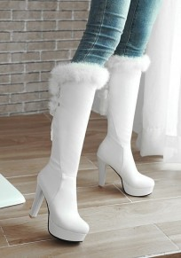 White Round Toe Chunky Faux Fur Patchwork Fashion Knee-High Boots