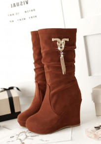 Brown Round Toe Wedges Rhinestone Chain Fashion Mid-Calf Boots