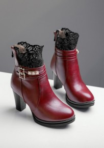 Wine Red Round Toe Chunky Lace Double Buckle Fashion Ankle Boots