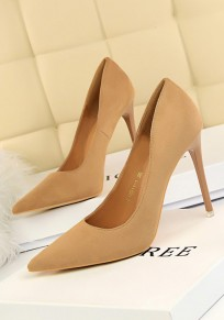 Khaki Point Toe Stiletto Suede Fashion High-Heeled Shoes