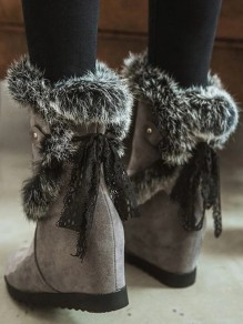 Grey Round Toe Within The Higher Casual Mid-Calf Boots