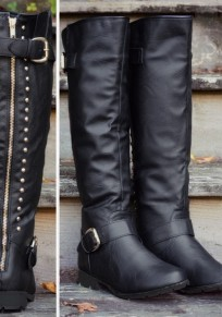 Black Round Toe Chunky Rivet Fashion Mid-Calf Boots