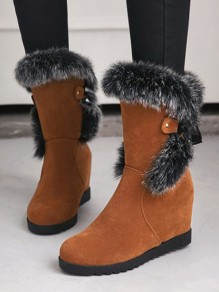 Yellow Round Toe Within The Higher Faux Fur Fashion Mid-Calf Boots