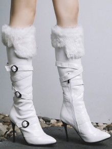 White Point Toe Stiletto Buckle Zipper Faux Fur Patchwork Elegant Knee-High Boots